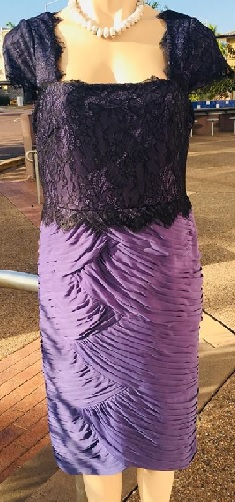 Formal Lilac Black Laced Dress S12