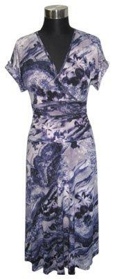 Purple Print with small sleeves Dress S12