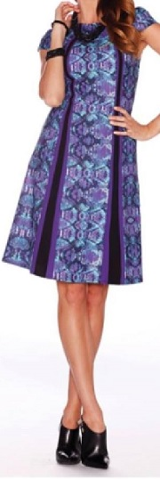 Purple Print Aline Dress S12,14