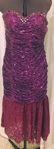 Purple Sequin Rouched Body Con Evening Maxi S12/14