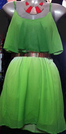 Green Chiffon Dress S8,10,12/14