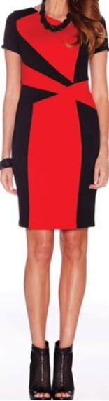 Red Black Shift Dress S10,12,16