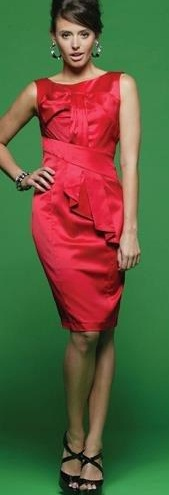 Red Bow satin Dress S14 ,16,18
