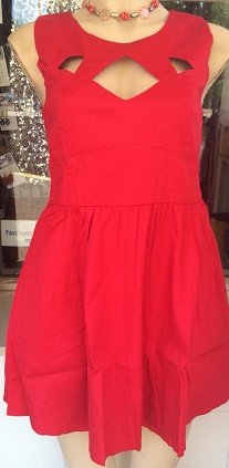 Red Cutout Cotton Dress S10,12