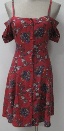 Red Print Button Down Dress S8