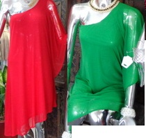 One Shoulder Mesh Dress Red S8,10,14 Green S8,10,12,14
