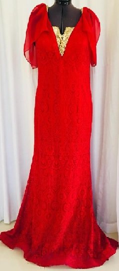 Red Lace with a touch of gold Formal Gown S14