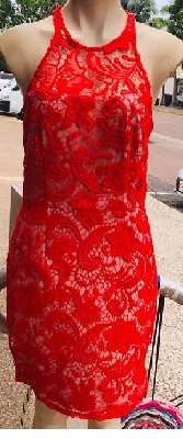 Red Lace High Neck Dress S10