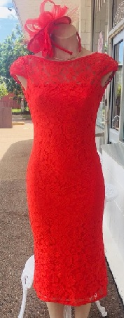 Red Lace Midi Dress S8/10