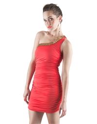 One shoulder Red gathered dress S12