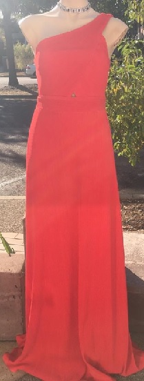 Red Pleat One Sholder gown S8/10