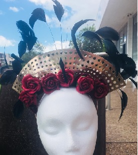 Red Rose Black Feather Fascinator $89
