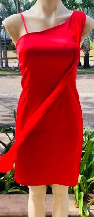 Red Satin One Shoulder S10