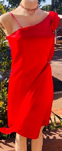 Red Satin with chiffon attached sash S8