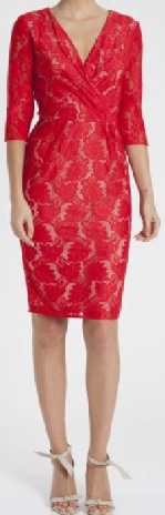 Red Sleeved Lace Cockrail Dress S8, 14