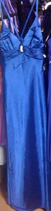 Satin Evening Dress Blue sold, Gold S14