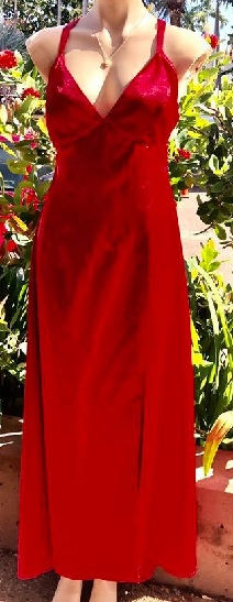 Satin Low Back Gown S10/12 Red, S10/12 Black,  S10/12 White