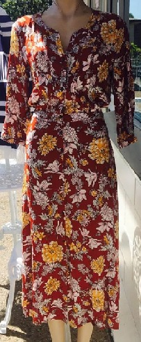 Rayon Marone Floral Sleeve Maxi Red S8,10,12,16  blk Floral S8,10,12,14,16 White Print S8,10,12,14