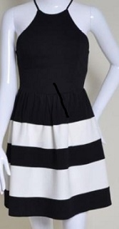 Black White Skater Dress S10  zigzag print S8,10,12