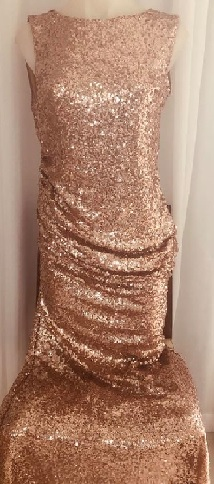 Gold Sequin rouched maxi S10/12