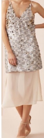 Sequin dress with Chiffon skirt White S6, Navy S10