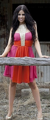 Sequin Pink Orange Dress S12/14