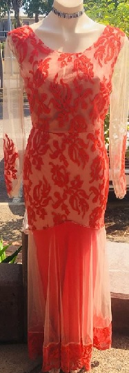 Sheer Sleeved Lace Gown Red S01/12 Black S6/8