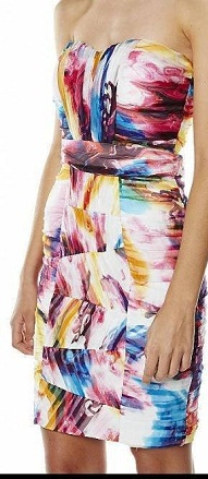 Multi colour Fitted Silk Dress S12
