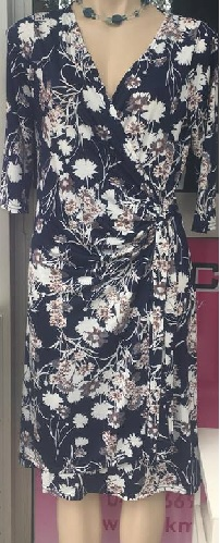 Sleeved Navy Floral Dress S12/14, 14/16
