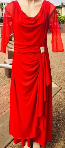 Red Sleeve Cowl Neck Drape Dress S12/14, 14/16