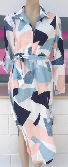 Sleeve multi print Shirt Dress S6/8,10/12. 12/14