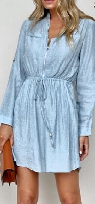 Sleeved Zip Faded Denim look Dress S8,10,12,14,16