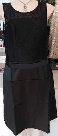 Black Lace Satin Dress S14/16