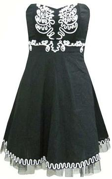 Black & White Fun Cocktail Dress (Cotton) S8,10