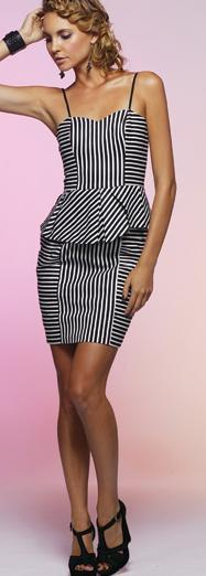 Honey & Beau Peplum Dress Striped S10  Black S12/14