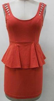 Peplum dress Tangerine 10  Black -12 (small sizing)