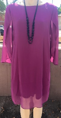 Sleeved Chiffon Dress-Magenta sold out,Apricot S10,14,16,18 Navy S14,16,18