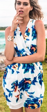 White Blue Floral Drape Dress s12