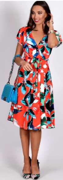 Red Print Aline Dress S10,14,18