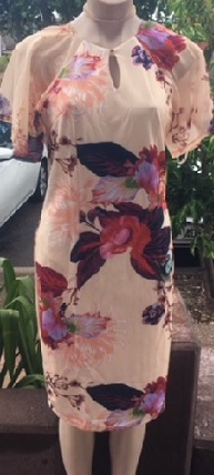 Sleeved Apricot Floral Dress S10,14,16