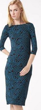 Teal Print Fitted with Sleeves Dress S8