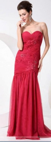Red Strapless Mermaid Gown S12,16
