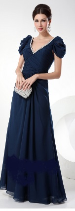 Navy chiffon with sleeves gown S12,14,16/18