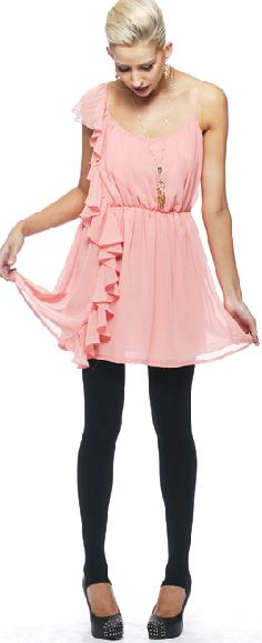 Bebe Sydney Rose Frill Chiffon Dress S12