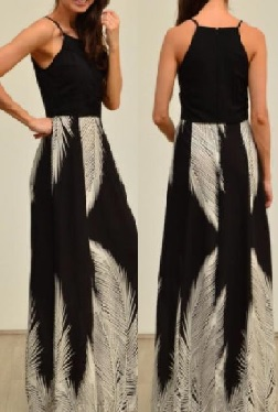 Black White Feather Maxi S8,12,14