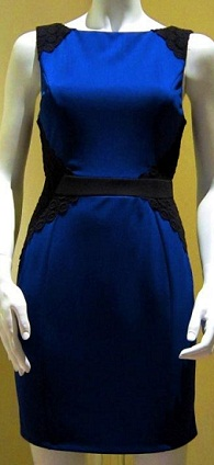 Anna Dress Blue with black Lace S12/14