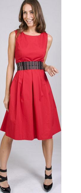 Cotton Full Skirt Dress red S8,10,12,14,16  Black S8,10,14 ,16,18
