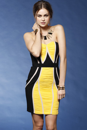 Yellow Black 100% Silk Mini Dress S8,10,14 Aqua S14