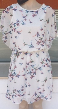 White Bird Print Floaty Dress S8,10,12,14