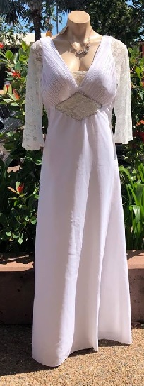White Gown With Lace Sleeves S10/12